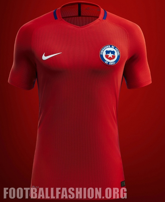 """bd7e574373d Nike says thaat the vivid Chile red of the team's 2016 Copa América home  kit pays tribute to team's nickname, """"La Roja,"""" while the white away kit  honors to ..."""