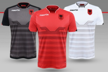 Albania EURO 2016 Macron Home, Away and Third Football Kit, Soccer Jersey, Shirt, Shqiptare Loje