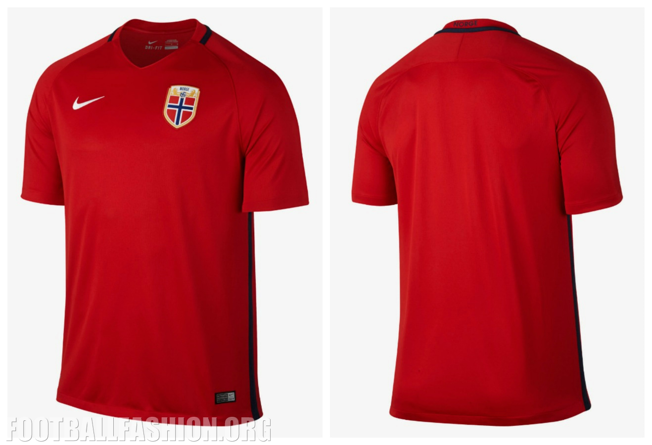 Norway 2016 17 nike home and away kits football fashion org for Navy blue and white nike shirt