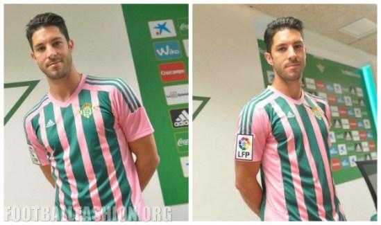 "Real Betis 2016 ""Semana de la Mujer Bética"" Pink Green adidas Football Kit, Soccer Jersey, Shirt"