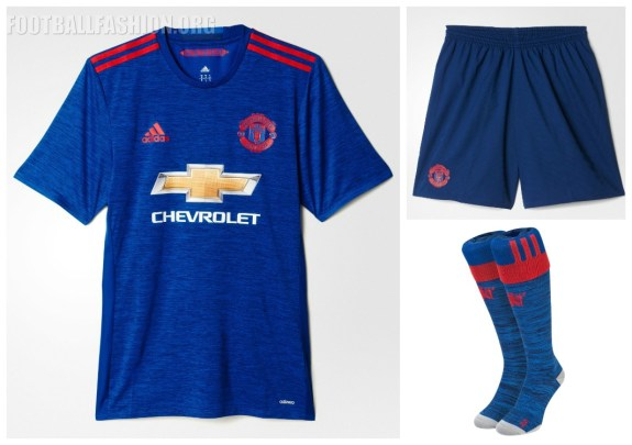 Manchester United FC Blue 2016 2017 adidas Away Football Kit, Soccer Jersey, Shirt, Maillot, Camiseta, Gara, Equipacion, Trikot, Tenue
