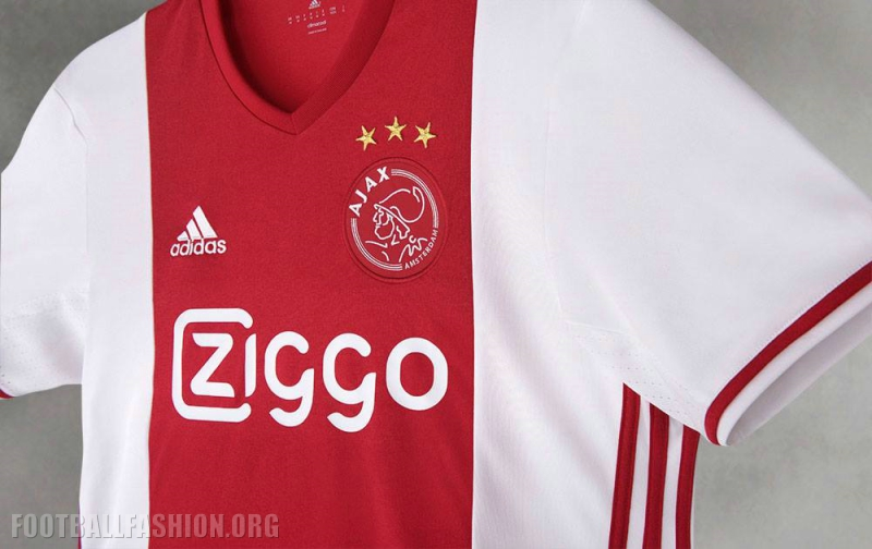 the 201617 ajax amsterdam home shirt is a relative variation of the the clubs famous white based primary kit with a red band running down its center