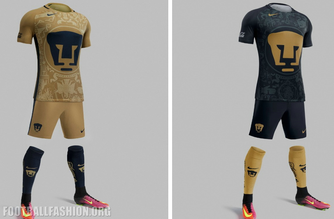 a209b2297 Pumas de la UNAM 2016 2017 Nike Home and Away Soccer Jersey, Football Kit,