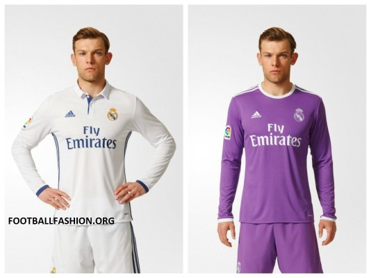 Real Madrid 2016 2017 adidas White Home and Purple Away Football Kit, Soccer Jersey, Shirt, Camiseta de Futbol, Nueva Equipacion, Camisa
