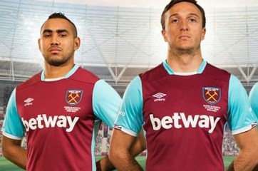West Ham United 2016 2017 Umbro Claret Home Football Kit, Soccer Jersey, Shirt, Maillot