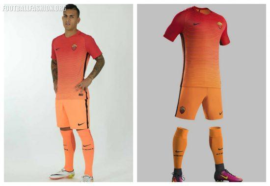 AS Roma 2016 2017 Nike Orange Third Soccer Jersey, Shirt, Football Kit, Gara, Maglia, Camiseta, Camisa