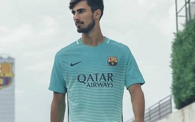 FC Barcelona 2016 2017 Nike Green Third Football Kit, Soccer Jersey, Shirt, Playera, Maillot, Camiseta, Equipacion de Futbol, Trikot