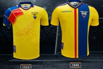 "Reissued: Ecuador ""Leyendas Por Siempre"" (Legends Forever) 1994 to 2006 Home Football Kit, Soccer Jersey, Shirt, Camiseta de Futbol"