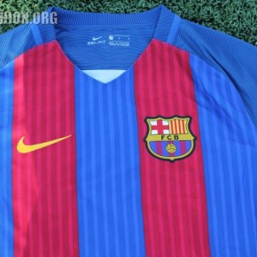 975df216cae Up-Close  FC Barcelona 2016 17 Long Sleeve Nike Home Jersey ...