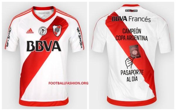 River Plate 2016 Copa Argentina Champions adidas Football Kit, Soccer Jersey, Shirt, Camiseta