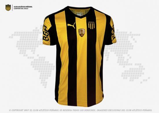 Peñarol 2017 Copa Libertadores PUMA Home Football Kit, Soccer Jersey, Shirt, Camiseta de Futbol