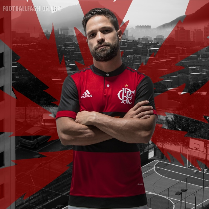 ... 82dfe2972ac The CR Flamengo 2017 18 adidas home uniform is completed  with white shorts and red ... 382fe480dcf64