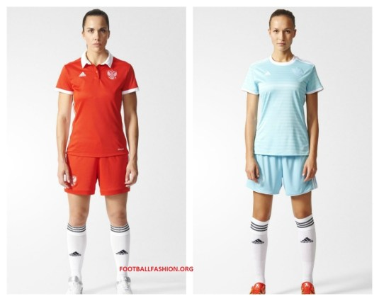 Russia Women's EURO 2017 adidas Home and Away Football Kit, Soccer Jersey, Shirt