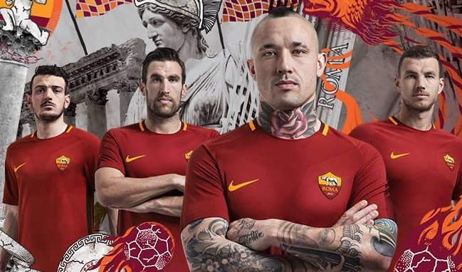 AS Roma 2017 2018 Nike Home Football Kit, Soccer Jersey, Shirt, Gara, Maglia