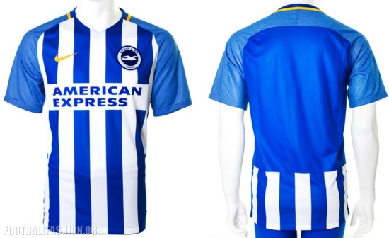 Brighton and Hove Albion 2017 2018 Nike Home Premier League Football Kit, Shirt, Soccer Jersey