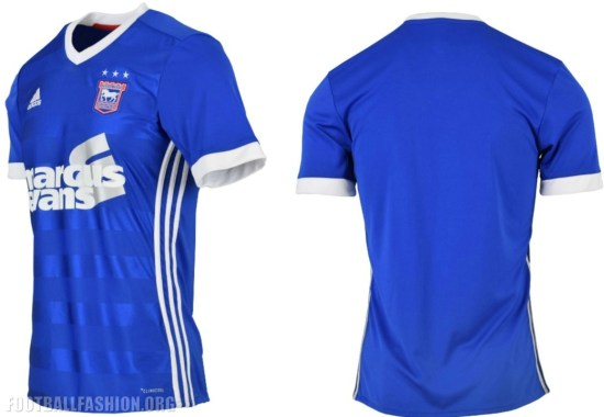 Ipswich Town FC 2017 2018 adidas Home Football Kit, Soccer Jersey, Shirt
