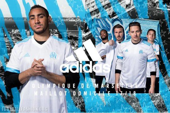 Olympique de Marseille 2017 2018 adidas Home, Away and Third Football Kit, Soccer Jersey, Shirt, Maillot, Camisa, Trikot, Camiseta