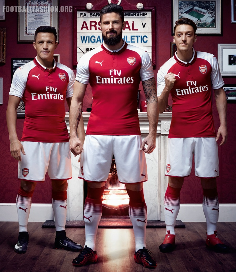 Arsenal FC 2017 2018 PUMA Home Football Kit, Soccer Jersey, Shirt, Maillot,