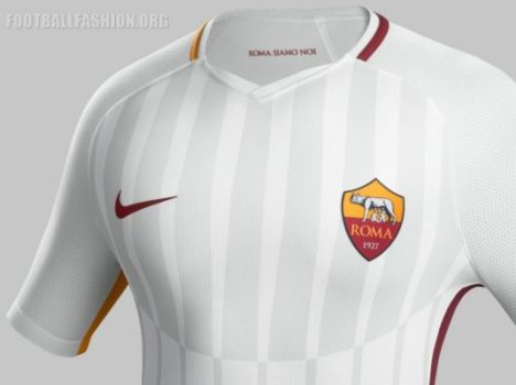 AS Roma 2017 2018 Nike White Away Football Kit, Soccer Jersey, Shirt, Gara, Maglia, Maillot, Trikot