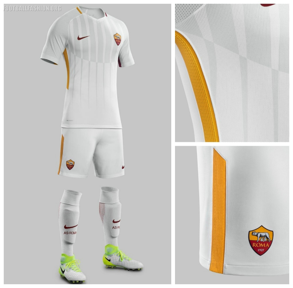 check out bf0a6 d33d0 AS Roma 2017 2018 Nike White Away Football Kit, Soccer Jersey, Shirt, Gara