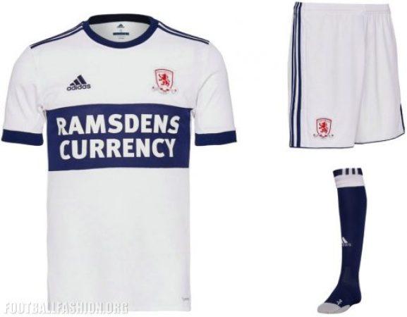 Middlesbrough FC 2017 2018 adidas Away Football Kit, Soccer Jersey, Shirt
