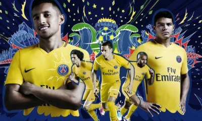 Paris Saint-Germain 2017 2018 Nike Yellow Brazil Away Football Kit, Soccer Jersey, Shirt, Camisa, Camiseta, Trikot, Maillot