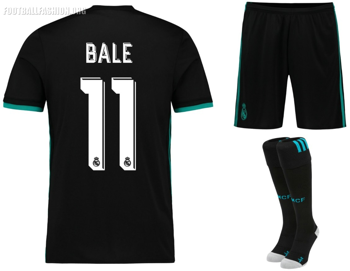 f43d907ad The Real Madrid logo is re-imagined in turquoise green with a neon effect to  stand out against the black. Real Madrid 2017 2018 adidas Home ...