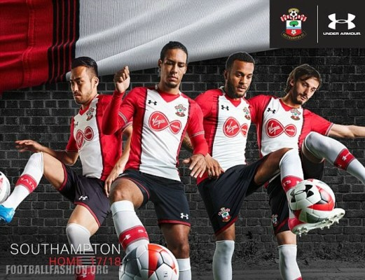 Southampton FC 2017 2018 Under Armour Home and Away Football Kit, Soccer Jersey, Shirt, Camiseta, Maillot, Trikot, Camisa