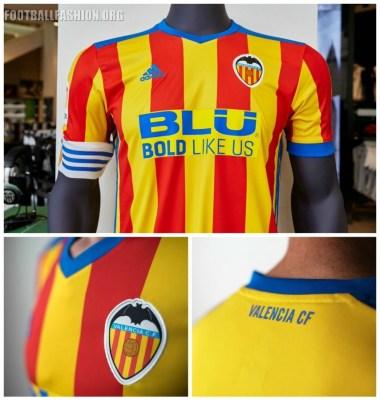 Valencia CF 2017 2018 adidas Away Senyera Football Kit, Soccer Jersey, Shirt, Camiseta de Futbol, Camisa, Equipacion