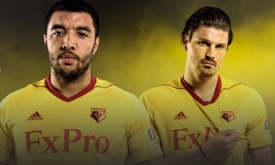 Watford FC 2017 2018 adidas Home Football Kit, Soccer Jersey, Shirt