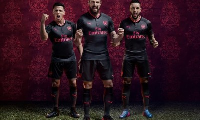 Arsenal FC 2017 2018 PUMA Black Pink Third Football Kit, Soccer Jersey, Shirt, Maillot, Camiseta, Camisa, Trikot, Tenue, Equipacion