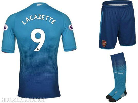 Arsenal FC 2017 2018 PUMA Blue Away Football Kit, Soccer Jersey, Shirt, Maillot, Camiseta, Camisa, Trikot, Tenue, Equipacion