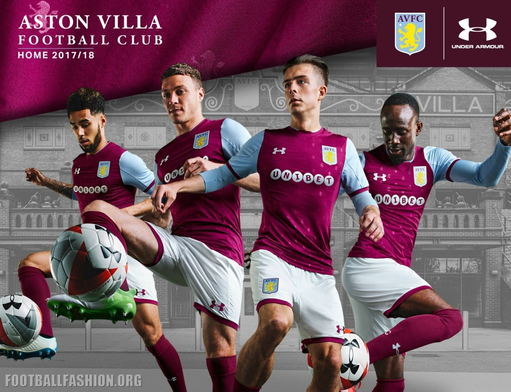 Aston Villa 2017 18 Under Armour Home And Away Kits Football Fashion Org