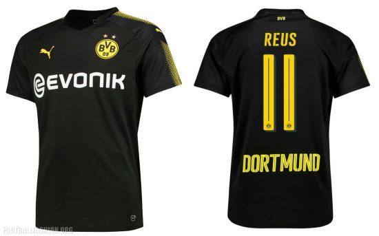 Borussia Dortmund 2017 2018 PUMA Black Away Football Kit, Shirt, Soccer Jersey, Trikot, Camiseta, Camisa, Maillot, Tenue, Auswärtstrikot