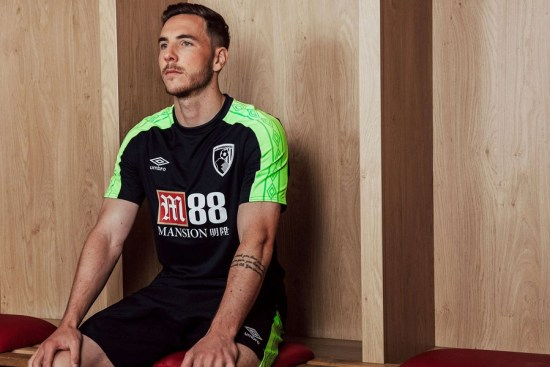 AFC Bournemouth 2017 2018 Umbro Black Third Football Kit, Soccer Jersey, Shirt, Camiseta, Maillot