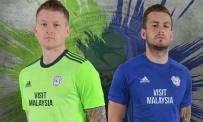 Cardiff City 2017 2018 adidas Home and Away Footbal Kit, Soccer Jersey, Shirt