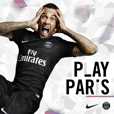 Paris Saint-Germain 2017 2018 Nike Black Third Football Kit, Soccer Jersey, Shirt, Camisa, Camiseta, Trikot, Maillot