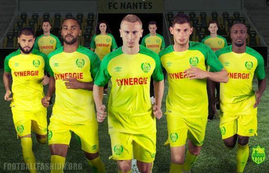 FC Nantes 2017 2018 Umbro Home and Away Football Kit, Soccer Jersey, Shirt, Maillot