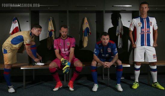 Newcastle Jets FC 2017 2018 Viva Football Kit, Soccer Jersey, Shirt