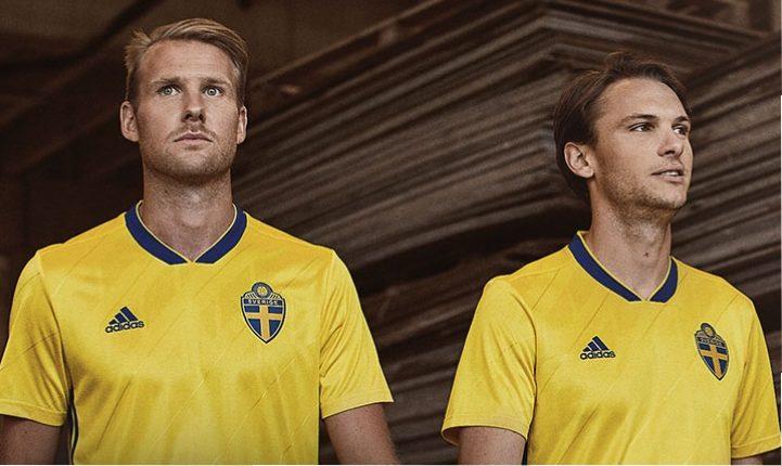 d1cc925598c Sweden 2018 World Cup adidas Home Kit - FOOTBALL FASHION.ORG