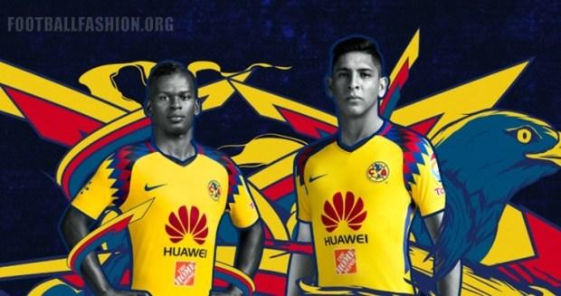 Club América 2018 Nike Yellow Third Soccer Jersey, Shirt, Football Kit, Equipacion, Camiseta Tercera, Playera, Uniforme