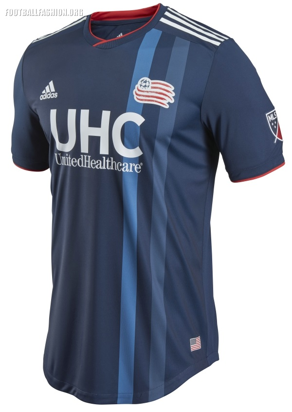 b90779e9ac6 The neckline is evokes memories of adidas  soccer kits of the late 1980s  and early 1990s. New England Revolution 2018 ...
