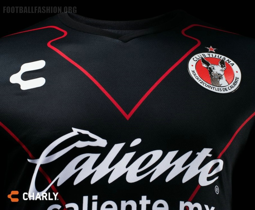 6ca2056e8 The new Xolos alternate jersey is all blacks with a large X-shape outlined  in red on its front. The shirt's sleeve cuffs also include the team's  primary ...
