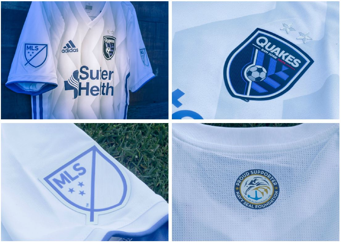 c6d3e8c0603 San Jose Earthquakes 2018 2019 adidas MLS White Away Soccer Jersey, Shirt,  Football Kit