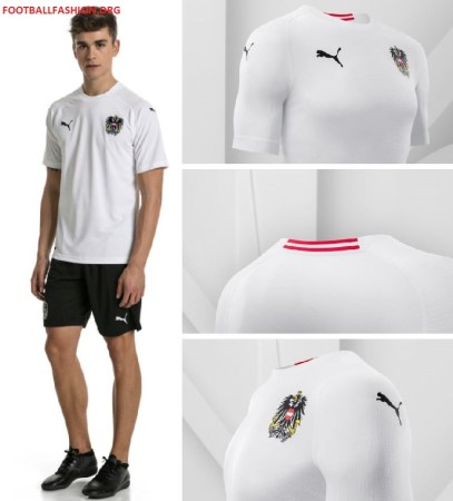 Austria 2018 2019 PUMA White Away Football Kit, Soccer Jersey, Shirt, Österreich Trikot