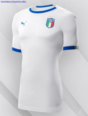 Italy 2018 2019 PUMA White Away Football Kit, Shirt, Soccer Jersey, Italia, Camiseta, Camisa, Trikot, Maillot, Gara, Maglia