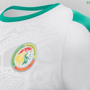 Senegal s 2018 19 primary jersey is mainly white with the team s primary  green at its crewneck collar 90eedce04