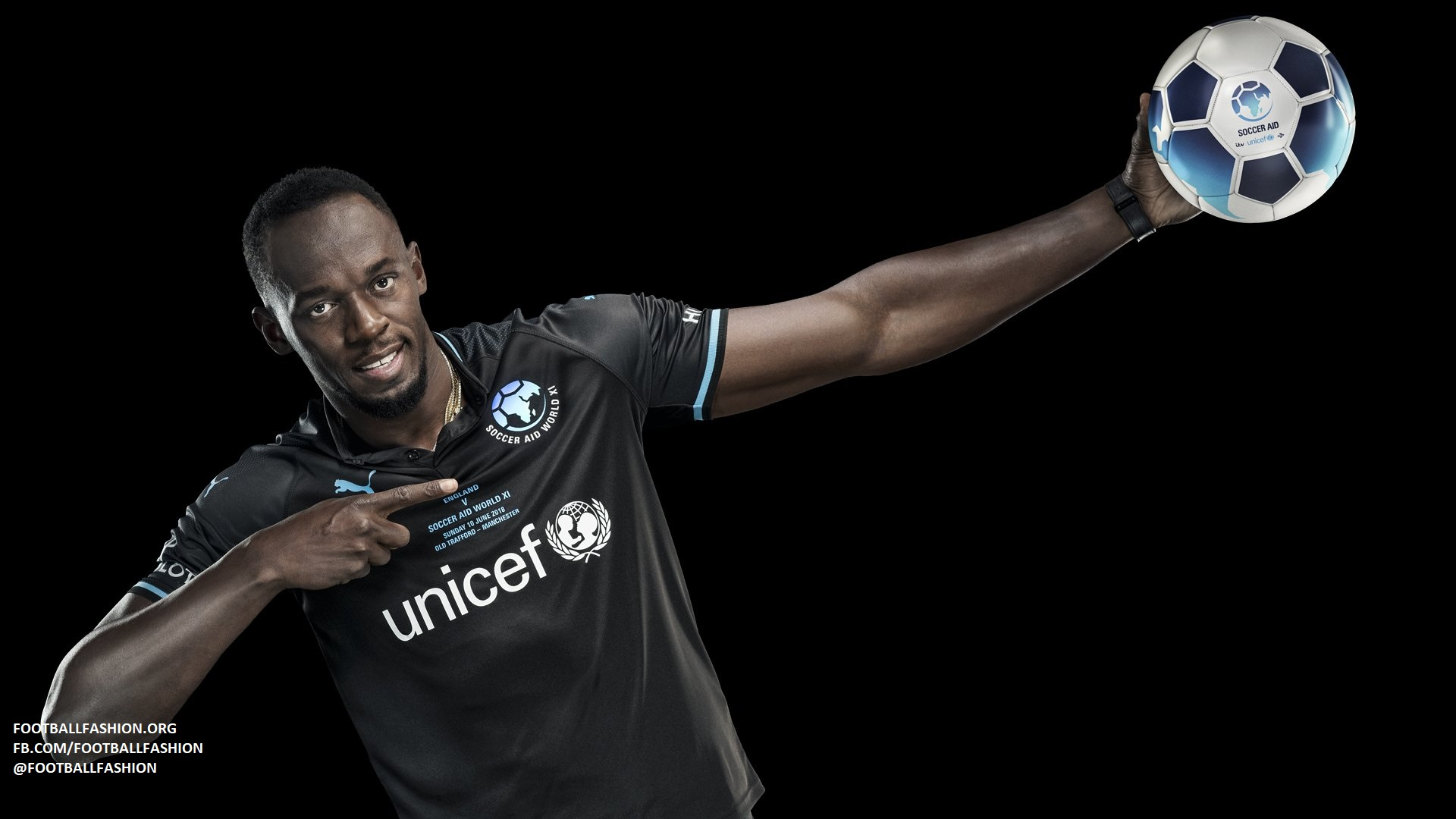 Team Usain Bolt Soccer Aid 2018 PUMA Kit – FOOTBALL ...