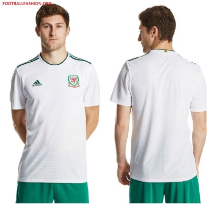 Wales 2018 2019 White adidas Away Football Kit, Soccer Jersey, Shirt