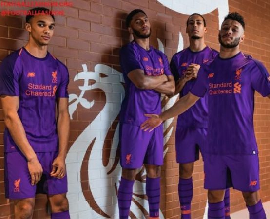 Liverpool FC 2018 2019 Purple New Balance Away Football Kit, Soccer Jersey, Shirt, Camiseta, Camisa, Maillot, Trikot